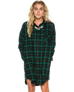 Bada Flannel Oversized Dress by Swell - Surf Stitch