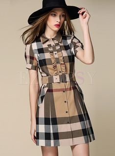 Shop Lapel Single-breasted Cotton Plaid Belted Dress at EZPOPSY. Plaid Dress, Belted Dress, Shirt Dress, Chic Outfits, Dress Outfits, Fashion Outfits, Fashion Themes, Emo Outfits, Nice Dresses
