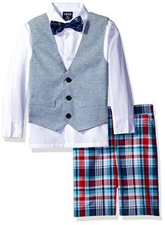 60c6bcd222 Izod Kids Little Boys Knit Plaid Short Vest Set with Bow Tie White 06R    Click on the image for additional details.Note It is affiliate link to  Amazon.