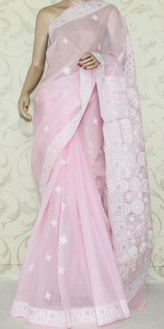 Lucknowi Chikan Saree (W/B-Cotton) 12900