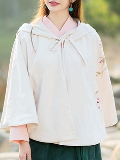 Chinese Style Hand Painted Hooded Cloaks For Women