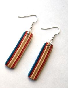 Recycled Skateboard Earrings by SecondShot on Etsy, $7.00