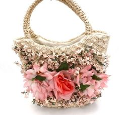 "Vintage Ritter "" Its in The Bag"" Flower Covered Straw Handbag 1950s...This reminds me so much of the current Dolce & Gabbana designs!"