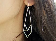 Chevron Earrings  Hammered Sterling Silver by StellaAndBearJewelry, $68.00