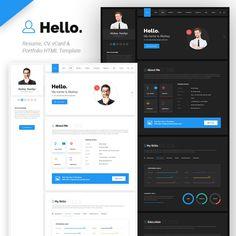Hello Resume - CV, vCard & Portfolio HTML Template :Hello Resume - CV, vCard & Portfolio HTML Template for your personal website. Advantage of this Best Website Templates, Template Site, Html Templates, Portfolio Resume, Portfolio Design, Design Display, Display Ideas, Page Design, Web Design