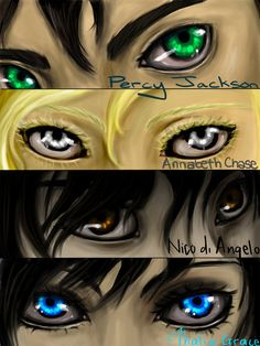 Percy Jackson, Annabeth Chase, Nico di Angelo, and Thalia Grace. My eyes look like Percy with Thalia Percy Jackson Fandom, Percy Jackson Crossover, Percy Jackson Characters, Percy Jackson Fan Art, Percy Jackson Books, Percabeth, Solangelo, Rick Riordan, Percy And Annabeth