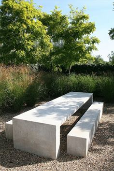 Concrete table and benches -