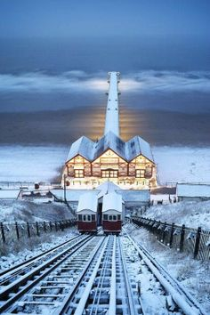 Saltburn Cliff Lift in the Snow, Saltburn-by-the-Sea, North Yorkshire, England.