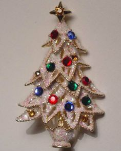 Sparkly Snow Swarovski Crystal Ornaments Christmas Tree Pin Signed Eisenberg Ice