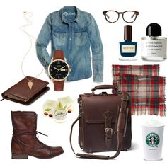 """""""Back to College - Chestnut"""" by lucymommy on Polyvore #saddlebackleather #katespade #madewell"""