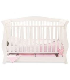Babystyle Hollie 2 Sleigh Cot Bed inc Drawer (White)