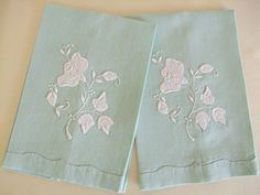 Mint Green Fingertip Towels Guest Bath Towels Tea by TheSweetBasil