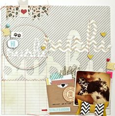 21. A Paper To Digi Recipe Challenge - Create a layout using the following recipe as inspire by this amazing paper layout.  Recipe -   One photo  A title cut out of three different kinds patterned paper.  A pocket/envelope of some kind  A circle  Stitching  5 hearts  Some kind of chevron on the page  - 1 pt