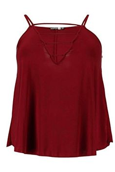Boohoo Womens Plus Frankie Strapy Slinky Swing Vest in Wine size 14 * You can get additional details at the image link.
