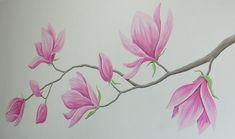 Magnolia bloemen muurschildering flower mural painting