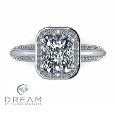 Radiant cut Diamond Engagement ring with Halo by Dream by Thimke Jewelers