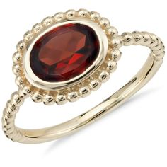 Blue Nile Garnet Beaded Ring ($395) ❤ liked on Polyvore featuring jewelry, rings, garnet jewellery, bezel jewelry, beading rings, garnet ring and beading jewelry