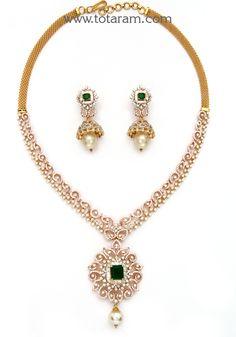 18K Rose Gold Polish 2 in 1 Diamond Necklace Cum Pendant