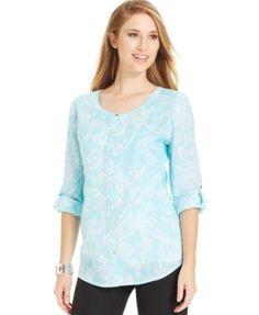 Jm Collection Linen Roll-Tab Shirt