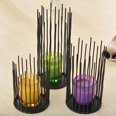 Lovely Creative Simple Black Candlestick Ornaments Impressionist Candle Lamp Night Light Decoration Iron Candlestick Holders Set of