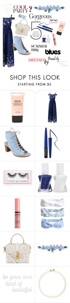 """""""Summer BBQ Blues"""" by colebug ❤ liked on Polyvore featuring Stila, Journee Collection, MAKE UP FOR EVER, Boohoo, Essie, NYX, Dolce&Gabbana, Sretsis, PBteen and Kenneth Jay Lane"""
