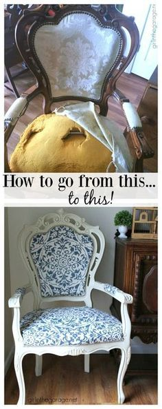 DIY Reupholstered chair makeover with Chalk Paint and clearance curtain as fabric - Girl in the Garage #ReupholsterChair