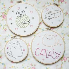 So fun! I got the itch the other day to do some embroidery and decided to  share the patterns I made! I'm definitely a cat lady and I love drawing  ridiculous kittens, so these are going to make a great addition to our  home. If you're new to embroidery, or just want a refresher course, Jenny  Hart made the best videos (for KIN Community) that I've ever found on the  subject. Check this one out for three ways to transfer patterns onto  fabric. And her step-by-step French Knot tutorial…