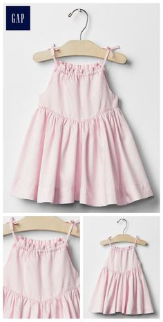 Cotton, Machine wash, Imported, Smooth cotton weave,Tank straps with button… Dresses Kids Girl, Cute Dresses, Kids Outfits, Summer Dresses, Baby Girl Fashion, Kids Fashion, Stylish Baby Girls, Dress With Bow, Tie Dress