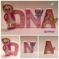 Letras decoradas con una mini fofucha bebe #fofuchas #letras decoradas