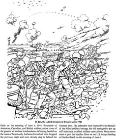 Ww2 coloring page beaches of normandy on d day world for Cold war coloring pages