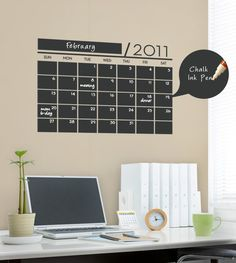 Chalkboard Wall Calendar - Vinyl Wall Decals that can be written on with a chalkboard pen.