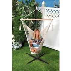 Hammock stands are the easiest way to hang a hammock. With a hammock stand, you can simply hook and unhook your hammock whenever you please. Outdoor Hammock Chair, Garden Hammock, Rope Hammock, Indoor Hammock, Hanging Hammock, Hanging Chair, Outdoor Chairs, Outdoor Decor, Outdoor Living