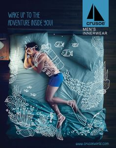 Black Swan Life's 2014 campaign for Crusoe Men's Innerwear layered lifestyle element illustrations over photographs of sleeping men. Via Canva.