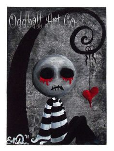 Gothic Art Print Signed Big Juicy Tears of Blood & by OddballArtCo, $24.99