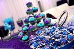 Tiffany #blue and bright #purple candy and cupcake bar #weddings    Lauren's Sweet 16 at A9 Event Space by 84 West Studios in Fort Lauderdale | 84 WEST STUDIOS South Florida Weddings