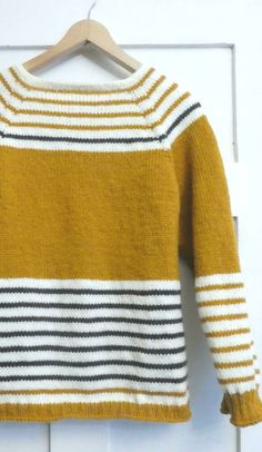 Petit Paris Mustard Yellow Striped Jumper Sweater Knitting pattern by SylviaHDesigns, Welcome to Paris! Stand out from the crowd with this cute and bright Jumper / Sweater in this seasons color, Mustard.Add a few stripes and you are rea.