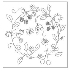 The Floss Box | Fruit Wreath Embroidery. Lovely pattern for embroidery onto a cushion or pillow.