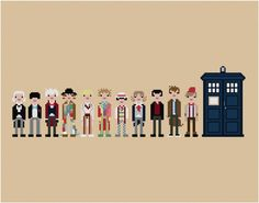 Pixel People - The Eleven Doctors - PDF Cross-stitch PATTERN. $12.00, via Etsy. This seller has so many geek-tastic patterns you have to check it out for yourself!