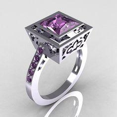 Modern French 950 Platinum 1.65 Carat Princess Cut Lilac Amethyst Bridal Ring R35-PLATLA