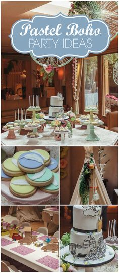 Here's a beautiful spring boho party with fresh flowers and big balloons! See more party ideas at CatchMyParty.com!