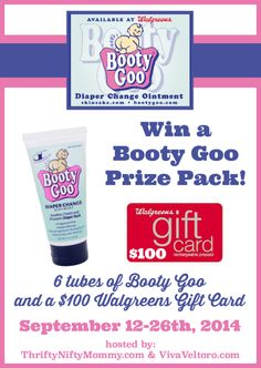 Booty Goo and a $100 Walgreens gift cardhttp://www.vivaveltoro.com/2014/09/booty-goo-100-walgreens-gift-card-giveaway.html