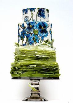 Blue floral hand-pai