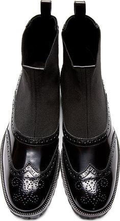 Christopher Kane: Black Leather Slip-On Brogue Boots