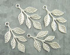 Antiqued Silver Leaves Brass Leaf Stamping by DecadentBrassGlass
