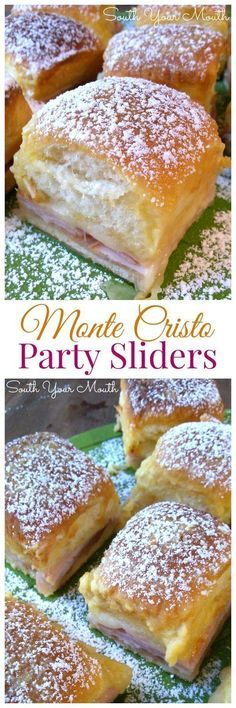 Cristo Party Sliders Monte Cristo sliders made with ham, turkey and cheese baked in a rich buttery topping dusted with powdered sugar.Monte Cristo sliders made with ham, turkey and cheese baked in a rich buttery topping dusted with powdered sugar. No Cook Appetizers, Appetizer Dishes, Appetizers For Party, Appetizer Recipes, Delicious Appetizers, Health Appetizers, Appetizer Ideas, Christmas Appetizers, Bruchetta Recipe