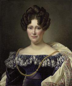 Johanna Henriette Engelen, 1826, Alexandre Jean Dubois Drahonet -- Excellent lace trip detail to study; I love the white over rich, dark blue.