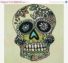 ON SALE ORIGINAL 'Yuck Green Skull' 8x8in by by jennifermercede