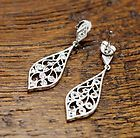 Tacori - Clear Stone Sterling Silver Dangle Earrings #A487 - #A487, Clear, Dangle, Earrings., silver, Sterling, Stone, tacori
