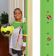 Patent Pending Mom Approved Football PeekaBoo Growth Charts Track & Measure your Kid's Height. Fits in Standard Door Jamb, Removable & Reusable, Self-Adhesive [72 x 1.25 Inches] available on Etsy, Amazon, Ebay and www.momapproved.net