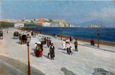 Passeggiata a Napoli (Via Caracciolo) - Attilio Pratella (1856 - 1949).